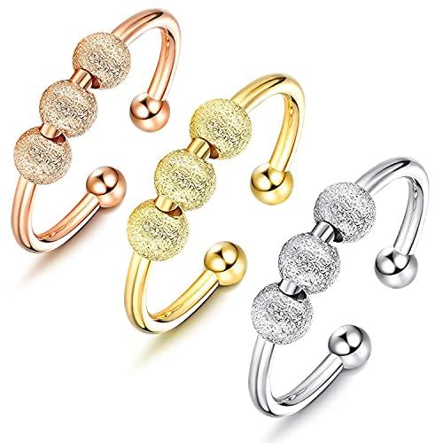 3Pcs Anillos Ansiedad para Mujeres Anillo Banda Spinner Fidget Ring Anillos de...