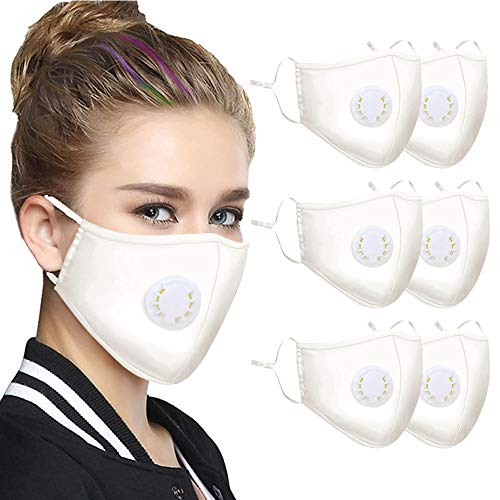 6 Pcs White Washable Reusable Mask with Breath Valves, Unisex-adult Face Protection from Dust Pollen Pet Dander (White)