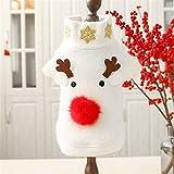 li's Mascotas ropa elegante Escudo Año Nuevo del invierno d Navidad divertida Elk nariz grande Modelo blanco for el pequeño perro Chihuahua ropa del gato (Size : L)