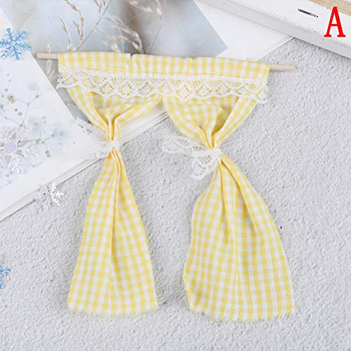 Dollhouse Lace Curtains Drapes on Rail Window Nets Doll House DIY Miniature Window Valance with Rod Furniture 1:12 Window Accessories Fairy Garden Decor Kids Pretend Play Toys Creative Handcraft Gifts