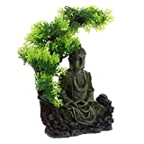 POPETPOP Sentado Estatua de Buda Pecera Decoración Resina Escultura de Buda con Plástico Planta para...