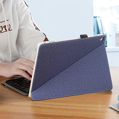 Infiland Huawei MediaPad M3 Lite 10 Tastatur Hülle, Ultradünn leicht Ständer Schutzhülle mit magnetisch abnehmbar Tastatur für Huawei MediaPad M3 Lite 10(QWERTZ Tastatur,Dunkleblau) - 6