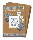 25 Blatt Kraftpapier A4 Set - 180 g - 21 x 29,7 cm - DIN Format - Bastelpapier & Naturkarton Pappe...