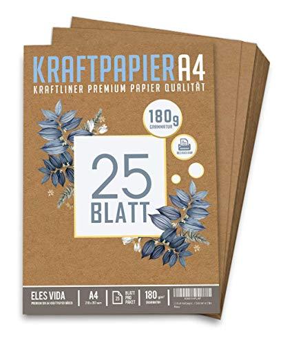 25 Blatt Kraftpapier A4 Set - 180 g - 21 x 29,7 cm - DIN Format - Bastelpapier & Naturkarton Pappe Blätter aus Kraftkarton zum Drucken, Kartonpapier Basteln für Vintage Hochzeit Geschenke Etiketten