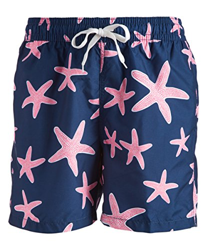 Kanu Surf Men's Monaco Swim Trunks (Regular & Extended Sizes), Starfish Navy/Pink, Small