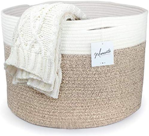 LIVE MOMENTO Cotton Rope Storage Basket XXX Large Basket Throw Blanket Basket Decorative Basket product image