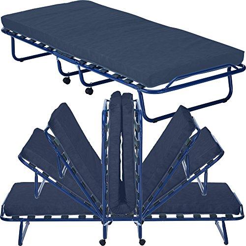 PROHEIM Gästebett Smart 80x190 cm klappbares Bett mit Matratze Lattenrost und Rollen - Klappbett mit stabilem Metallrahmen - Bequeme Gästeliege