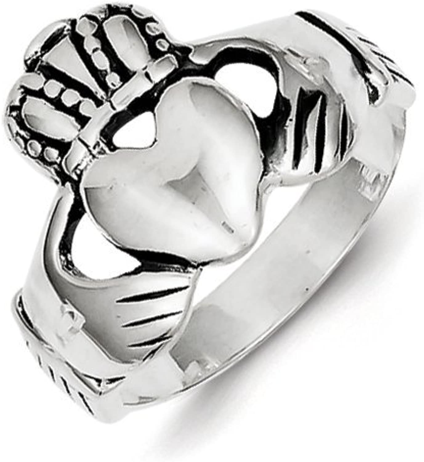 Celtic Sterling Silver Antiqued Claddagh Ring