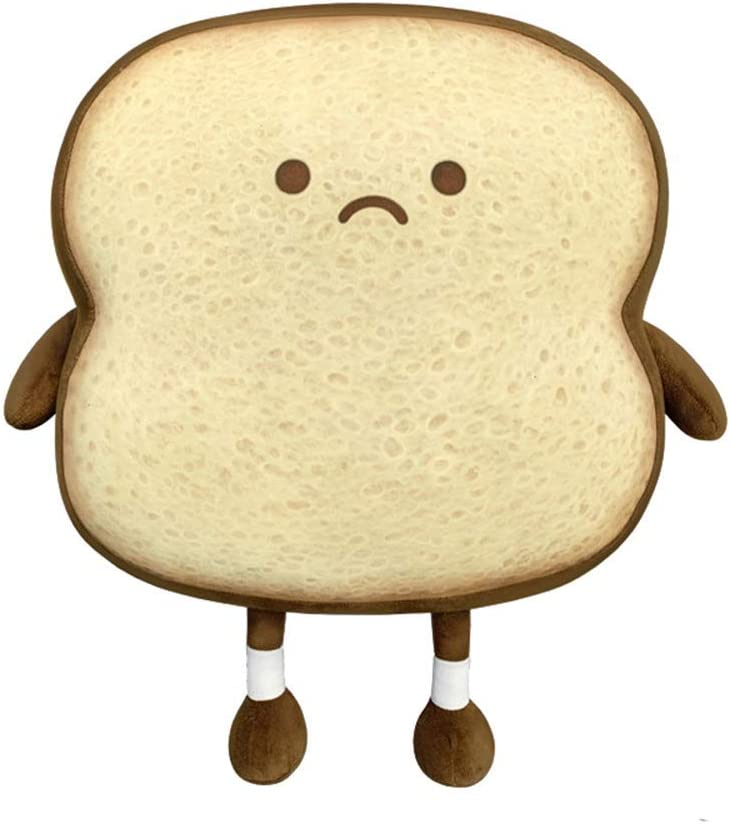 Aoligay Toast Bread Pillow Funny Food Plush Toy Pillows Small Cute Stuffed Plush Toast Sofa Pillow (Toast Bread, Brown)