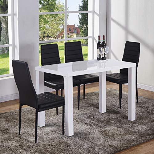 GOLDFAN hoogglans eettafel en stoelen Set 4 personen PU lederen stoelen Morden keukentafel eetkamerset