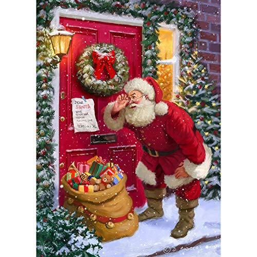 Sonsage Christmas Diamond Painting by Number Kits,Santa Claus and Gift Full 5D Leisure Beads Gem Embroidery Art for Adult and Kit, Home Decoration for Wall (16' x 12')