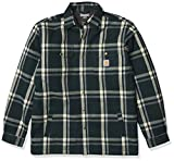 Carhartt Men's Relaxed Fit Flannel Sherpa-Lined Snap-Front Plaid Shirt Jacket, Ink Green, X-Large