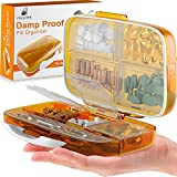 Travel Pill Organizer Medicine Dispenser - Moisture-Proof Pill Boxes and Organizer - Portable Vitamin Container Holder - 8 Large Compartments for Medication and Supplements