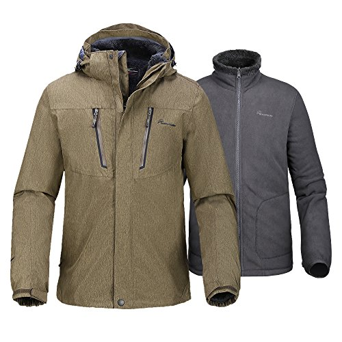 OutdoorMaster Men's 3-in-1 Ski Jacket - Winter Jacket Set with Fleece Liner Jacket & Hooded Waterproof Shell - for Men (Desert,XL)
