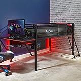 X Rocker Sanctum Mid Sleeper Gaming Bed with Desk, Storage Vent, Metal Frame, Ladder, Single 3ft Cabin Bed, Kids Bedroom