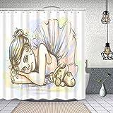 ZUL Wasserdichter Duschvorhang,Ballerina handgezeichnete Skizze niedlich klein verträumt,Drucken von Badvorhängen mit 12 Haken 150x180cm