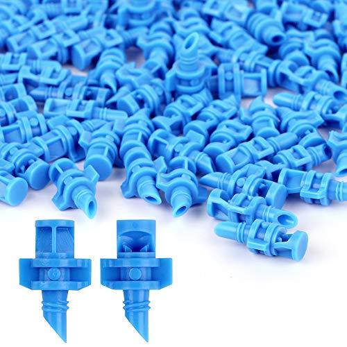 None brand 100 Pcs Mini Bewässerungssprühdüse Nebeldüsen Sprinklerköpfe Microsprüher für Sprinkler- und Garten-Bewässerungssysteme, 90°/180°/360° (90° Blau)