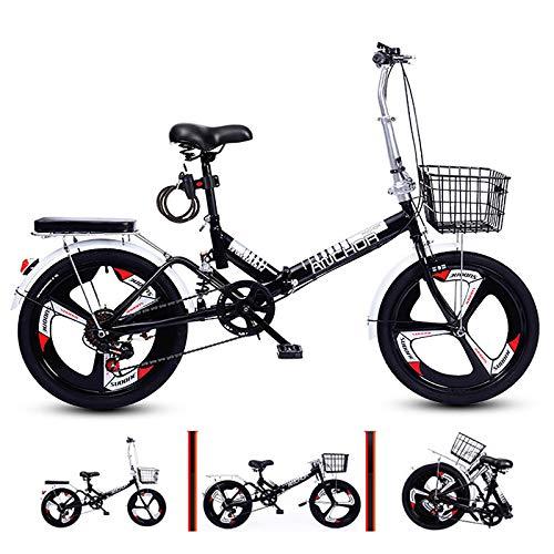 6 Velocidad Ligero Bicicleta Plegable,Absorción De Impactos Bicicleta Plegable con 3 Radios & Cesta De Hierro & Cerradura Bicicleta Portátil Adecuado para 120cm-165cm De Altura
