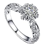 Clearance Rings,Women Natural Gemstones Crystal Love Heart Rings Engagement Wedding Bride Ring Jewelry Gift (Silver, 7)