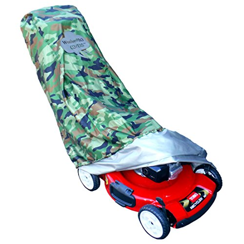 Lawn Mower Cover - Waterproof, Premium Heavy Duty CAMO Style - Manufacturer Guaranteed - Weather and UV Protected Covering for Push Mowers - Secure Draw String and Large Size for Universal Fit