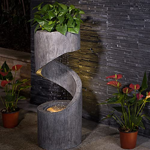 Glitzhome GH11250 Outdoor Polyresin Curved Waterfall Fountain with LED Light, 31.3' H