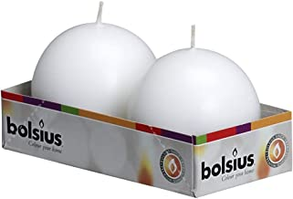 BOLSIUS Tray of 2 White Ball Candles - 16 Long Burning Hours Candle Set - 2.75 inch Dripless Candle - Perfect for Wedding Candles, Parties and Special Occasions