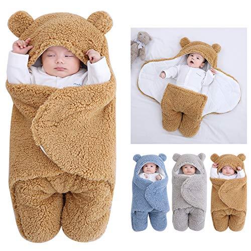 Coperta con cappuccio per neonato sacco a pelo sacco sacco Swaddle inverno caldo pile ricevere coperta con gambe maglia passeggino avvolgere per 3-6 mesi bambino