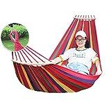Zdcdy Camping Hama-ca, Portátil Hama-ca de Lona de Jardín con Bolsa de Transporte, Dos Travesaños de Equilibrio y Correas Resistentes, para Camping, Jardín, Patio, 200-300kg de Carga,Red-200x100cm