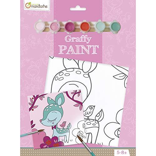 Avenue Mandarine PP013O Ausmalset Graffy Paint, mit 1 vorgezeichnete Leinwand 20 x 20 cm, 6 Farbtuben und 1 Pinsel, ideal für Kinder ab 4-5 Jahren, 1Set, Reh