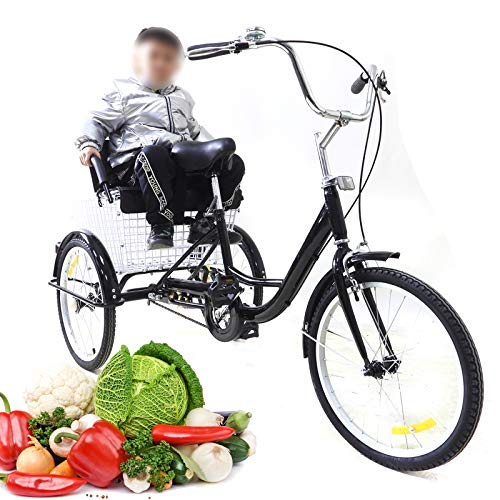 20 Inches Adult Tricycle with Strong Shopping Basket Black 3 Wheel Bike Bicycle with Children Seat...