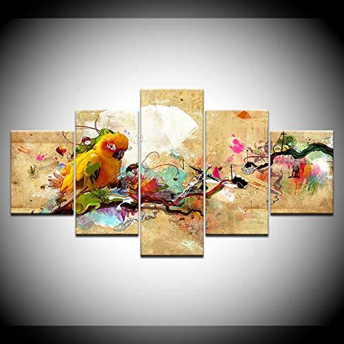 """WLYUE-Bilder 200x100 cm/78.8\""""x39.4\"""",Leinwand Malerei Papagei abstrakt Mehrfarbig 5 Stück Wandkunst Malerei Modulare Tapeten Poster Druck für Wohnzimmer Home Decor"""