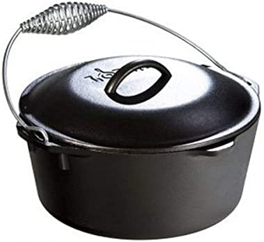 Lodge 5 Quart Cast Iron Dutch Oven. Pre Seasoned Cast Iron Pot and Lid with Wire Bail for Camp Cooking