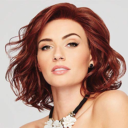 YNYE Peluca de moda para mujer vino rojo teñido pera flor rollo corto rizado peluca peluca set 35cm