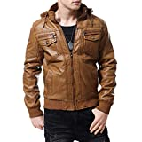 AOWOFS Mens Brown Vintage Faux Leather Jacket Hooded Motorcycle Suede Shearling Coat