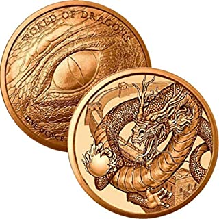 Jig Pro Shop World of Dragons Series 1 oz .999 Pure Copper Round/Challenge Coin