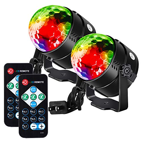 Litake Party Lights Disco Ball,Sound Activated Strobe Light with Remote,7 RGB Colors Changing DJ Stage Strobe Lights Indoor for Home Festival Bar Club Parties Xmas Birthday Wedding Show -2 Packs
