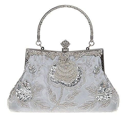 KAXIDY Damen Clutch Abendtasche Pailletten Tasche Schultertasche Handtasche Hochzeit Party Außen (Silber) | Taschen > Handtaschen > Abendtaschen | KAXIDY