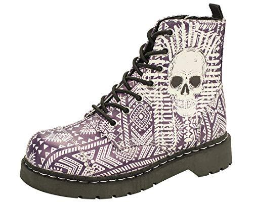 T.U.K. Shoes Women's Anarchic By T.U.K. 7 Eye Boot Aztec W/ Skull Print EU38 / UKW5