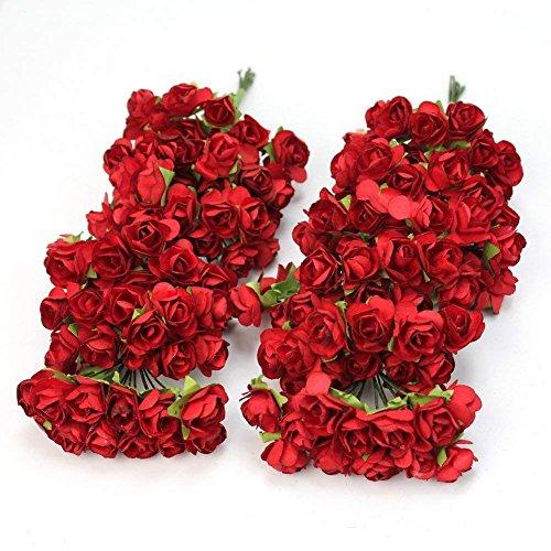 Aeromdale 144pc Chic Mini Papel Artificial Rosa Flor Boda Tarjeta Decoración DIY – Rojo