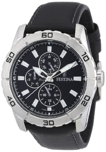 Festina Sport Multifunktion F16607/4 - Reloj analógico de Cuarzo para Hombre, Correa de Cuero Color Negro (Agujas luminiscentes)