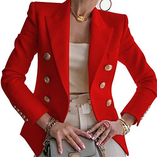 Blazer da Donna Giacca Tailleur a Maniche Lunghe Colletto Rivolto con Bottoni Casual Elegante per Ufficio Lavoro Business OL (Rosso, L)