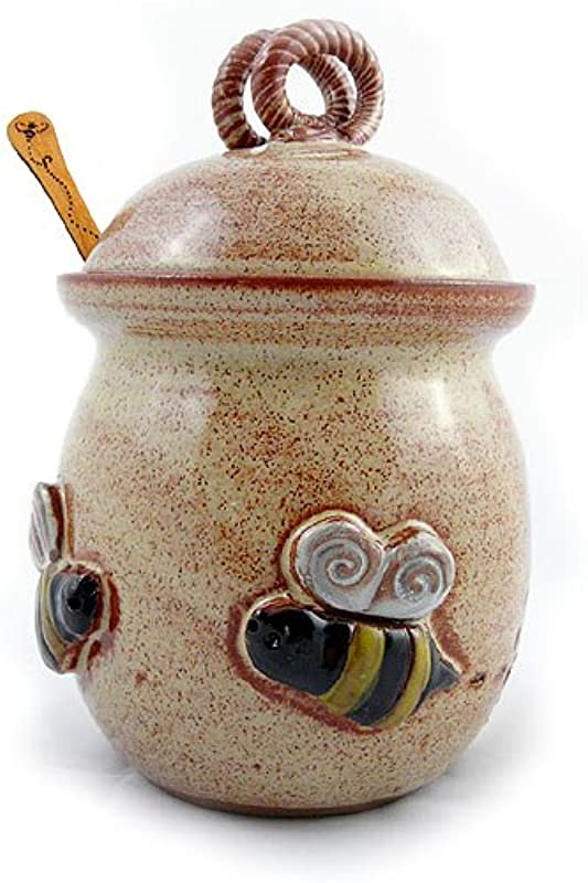 Bee 20 Ounce Stoneware Honey Pot Pottery Jar With Cherry Wood Honey Stick American Made