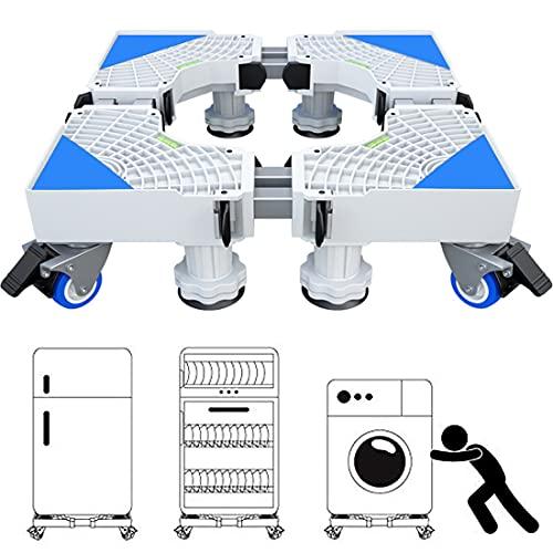 Base Lavatrice, Carrello Lavatrice con Ruote per Lavatrice Asciugatrice e Frigorifero, Regolabile Lunghezza, Larghezza 46,5 a 68 cm, Altezza11 a 12 cm, capacità di Peso 300 kg