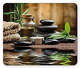 Alfombrilla de ratón para spa con piedras de masaje, aceite de hierbas y velas aromáticas, rectangular, antideslizante, tamaño estándar, negro, marrón y blanco