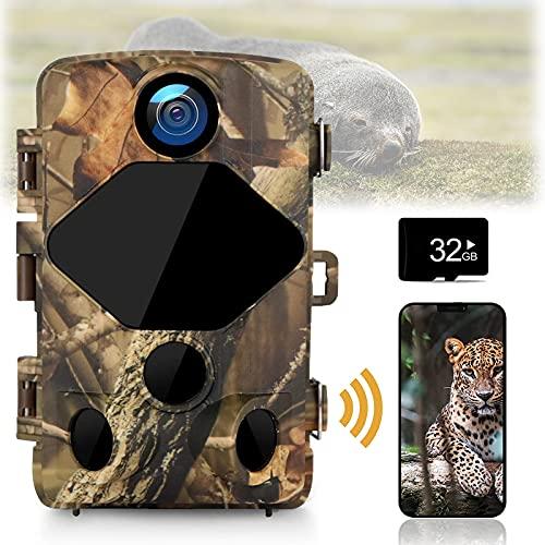 4K Wildlife Camera 24MP WiFi Wildlife Camera con Detector De Movimiento Low Glow IR Night Vision Transmisión por Teléfono Móvil 120 ° Gran Angular IP66 Impermeable Y Tarjeta SD De 32G