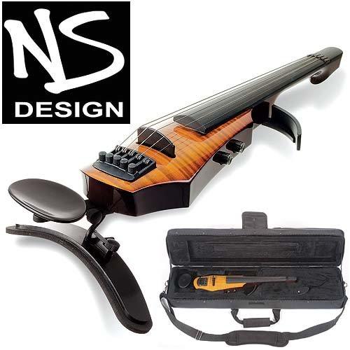 NS Design WAV-5 Electric 5-String Amber Burst Violin with Hard Case