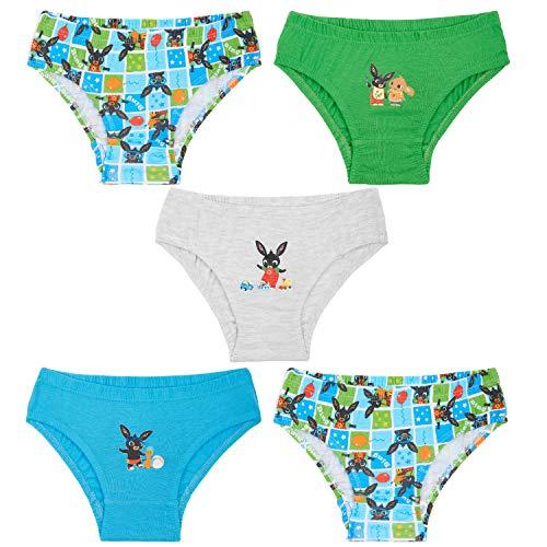 Bing Bunny Calzoncillos Niño, Pack de 5 Calzoncillos 100% Algodon Suave, Ropa Interior Niño Bebe, Regalos para Niños Edad 18 Meses - 5 Años (Multi, 2-3 años)