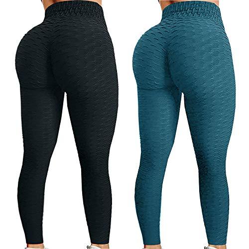 WOZOW Leggings Anti-Cellulite Femme Bubble Hip Lifting Exercice Fitness Running Pantalon Yoga Taille Haute Pantalons à pour Cellulite Brûleur Graisse en Cours Conception Collants (Armée Verte,XS)