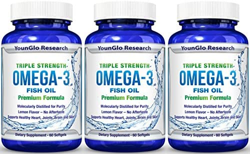 Fish Oil Pills - Pharmaceutical Quality - Triple Strength Omega 3 Burpless Capsules 1250 mg per Softgel (1 Pack)