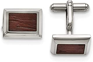 Stainless Steel Polished with Wood Inlay Cufflinks